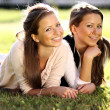 Beautiful twins of sister lays on green - Stock Photo