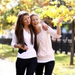 Two cheerful girls twins, in the street — Stock Photo