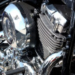 Stock Photo: Chrome-plated engine of motorcycle