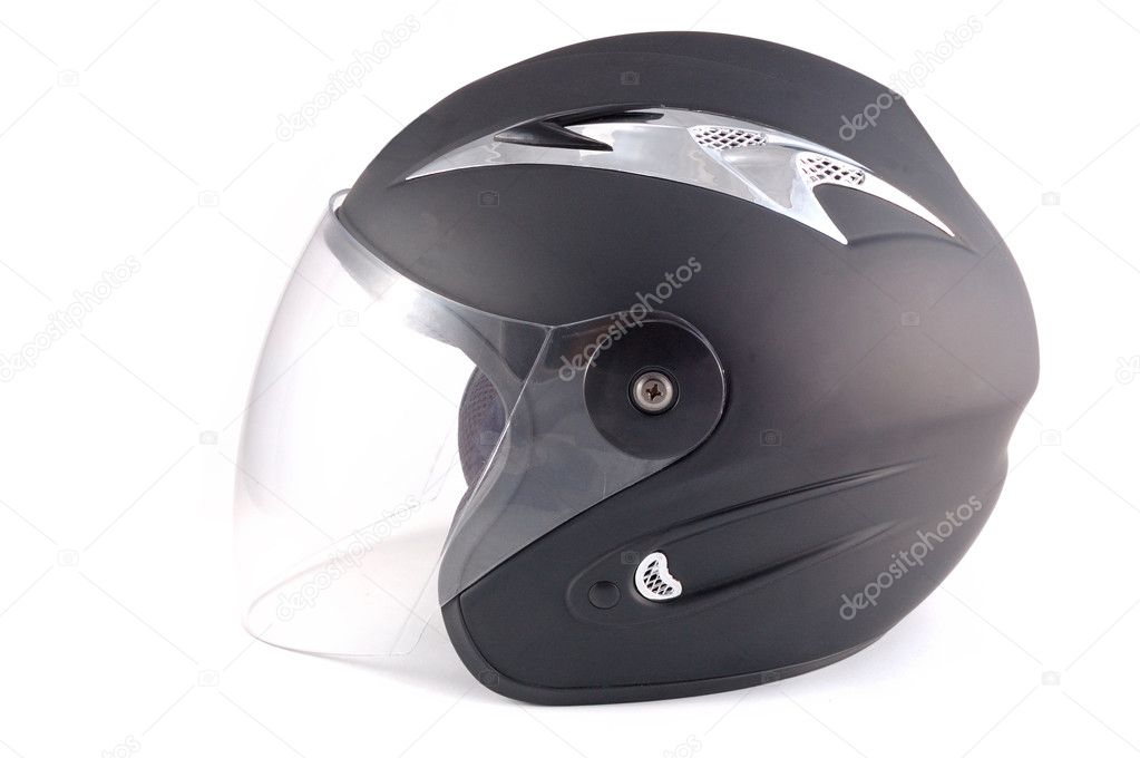 Black helmet on a white background — Stock Photo #1184776