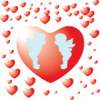 Stock Photo: Two angels on red heart