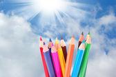 Beaucoup de crayons de couleur — Photo