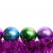 Christmas balls and tinsel — Stockfoto
