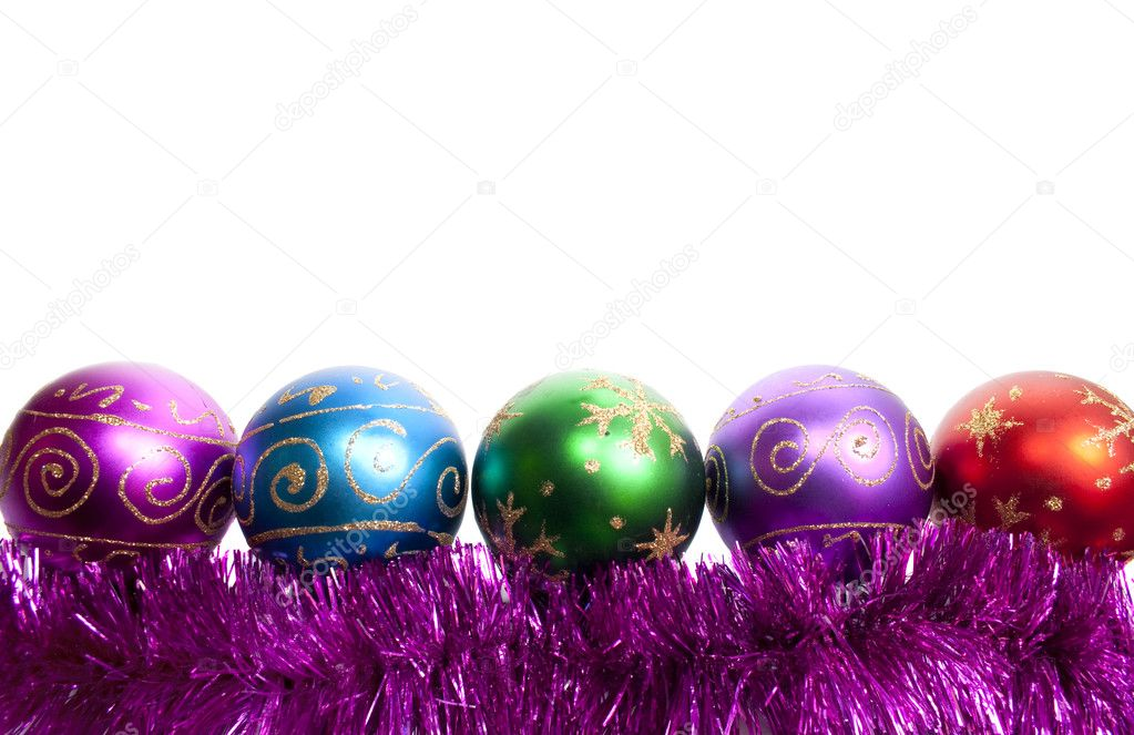 New-year decorations. Varicoloured Christmas balls and tinsel on a white background  Stock Photo #1167270