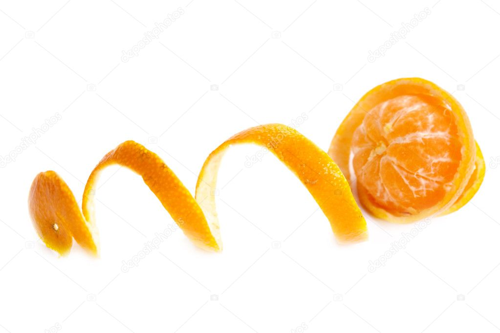 Tropical fruit. Tangerine with the taken off skin on a white background — Stock Photo #1167610
