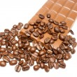 Coffee grains and chocolate - Stock Photo