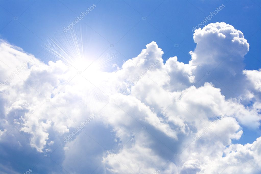 More dark blue cloudy sky and bright sun — Stock Photo #1171590