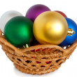 Christmas balls in basket — Stock Photo #1180999