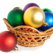 Christmas balls in basket — Stock Photo