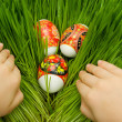Easter eggs in grass and hands — Stock Photo #1183331