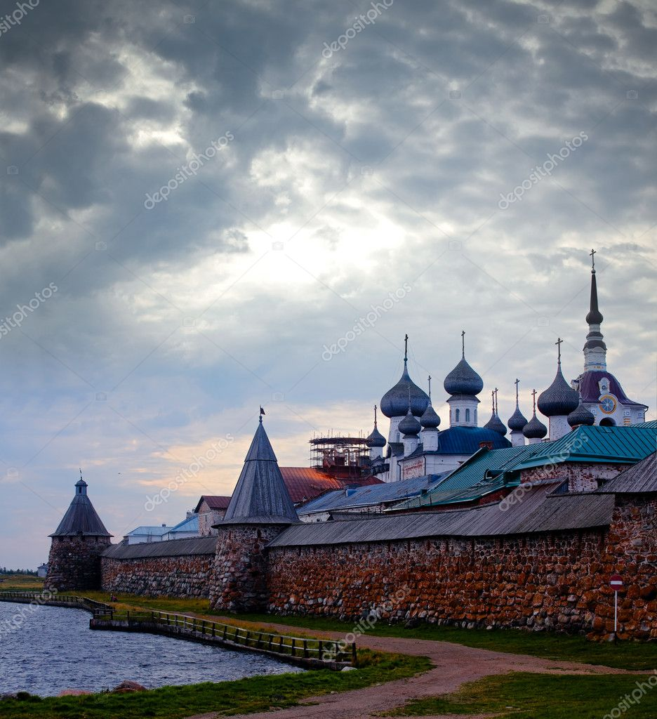 View on Solovetsky Monastery with Holy Lake on sunrise  Stock Photo #1942829