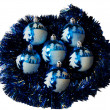 Royalty-Free Stock Photo: Ornaments lie on a dark blue rain