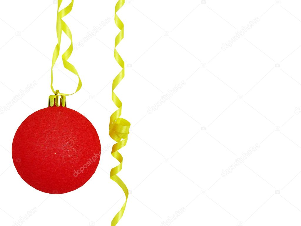 Beautiful New Year's red sphere on a yellow ribbon — Stock Photo #1166808