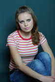 Girl in a striped T-shirt — Stock Photo