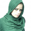 Woman in a green linen cape — Stock Photo