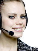 Girl with a headset — Stock Photo