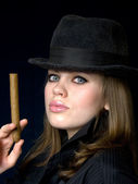Lady and cigar — Stock Photo