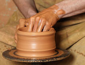 Production of clay pot — Stock Photo