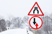 Travelling sign in winter — Stock Photo