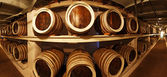 Barrels with the wine alcohol — Stock Photo
