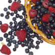 Bilberries and raspberries, summer fruit — Stock Photo