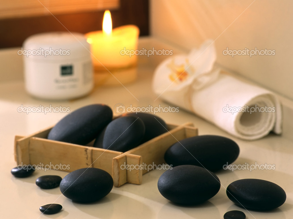 Set of black stones for spa  procedures — Stock Photo #1206389