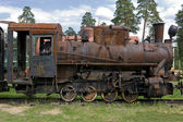 Old steam train at a railway museum — Stock Photo