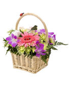 Bouquet of flowers in the basket — Stock Photo