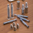 Stock Photo: Set of modern bolts and screws