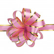Pink christmas gift ribbon and bow — Stock Photo