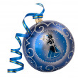 Royalty-Free Stock Photo: Blue christmas  ball with ribbon