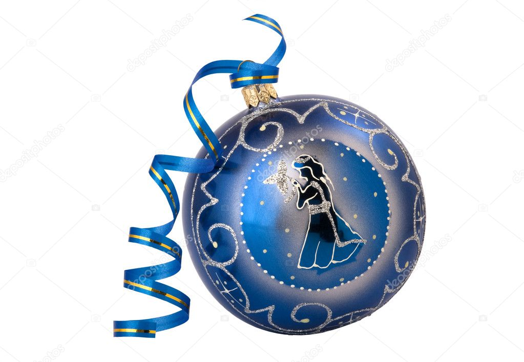 blue christmas  ball with ribbon, isolated on white. — Stock Photo #1620890