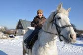 Walk astride a horse — Stock Photo