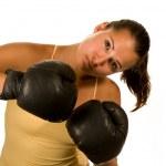 Girl in boxing gloves — Stock Photo
