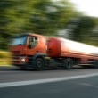 Red truck on high speed — Stock Photo #1142411
