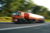 Red truck on high speed — Stock Photo