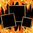 Stock Photo: Old frames with fire flames