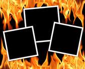 Vecchi telai con fiamme di fuoco — Foto Stock