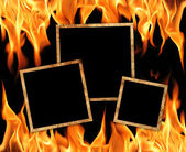 Old frames with fire flames — Stock Photo