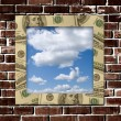Dollars frame with sky image inside — Stock Photo #1250964