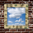 Stock Photo: Dollars frame with sky image inside