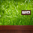 Stock Photo: Energy outlet in grass
