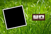 Energy outlet in grass with empty frame — Stock Photo