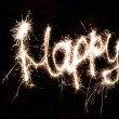 Word Happy made by sparkler - Foto de Stock  