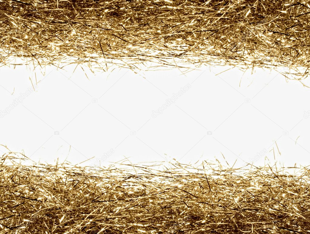 Gold tinsel frame isolated  Stock Photo #1426467
