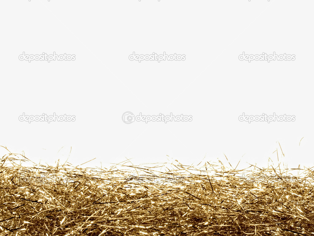 Gold tinsel frame isolated — Stock Photo #1426470