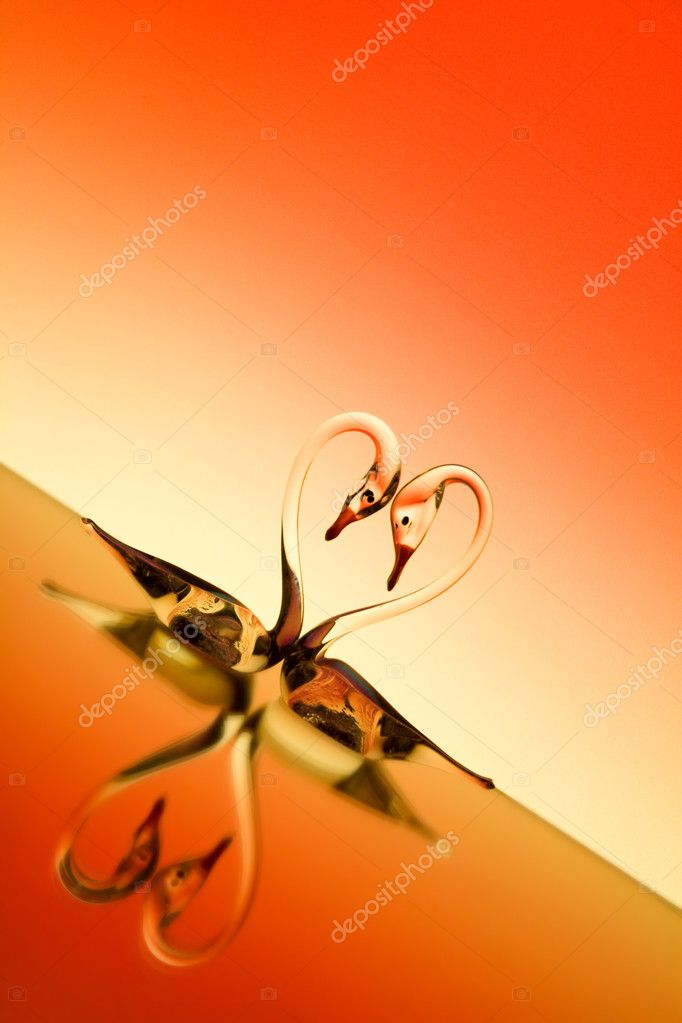 St. Valentine background with two glass swans — Stockfoto #2634353