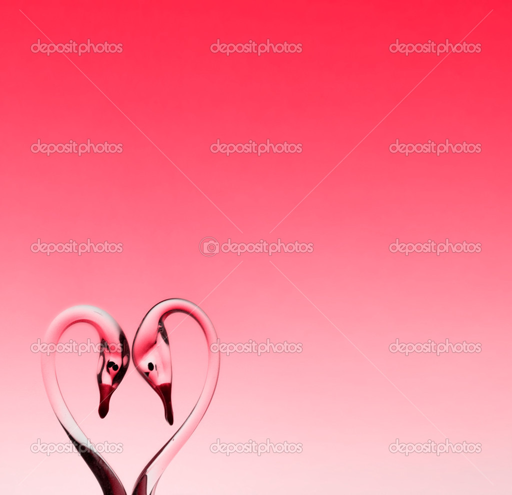 St. Valentine background with two glass swans — Stock Photo #2634754