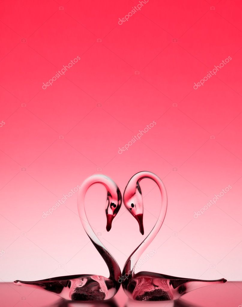 St. Valentine background with two glass swans  Stock fotografie #2634758