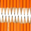 Orange pencil tips close up - Stock Photo